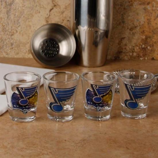 St. Louis Blues 4-pack Enhanced High Definition Design Shot Glass Set