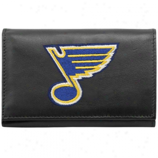 St Louis Blues Black Embroideted Tri-fold Leather Wallet
