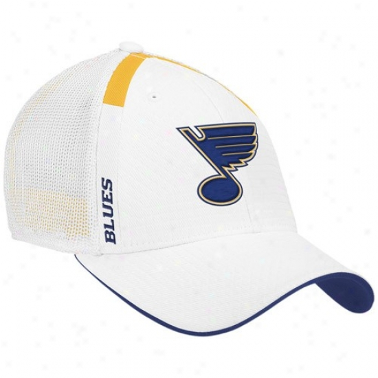 St. Louis Blues Caps : Reebok St Louis Blues White  Nhl Draft Day Flex Fit Caps