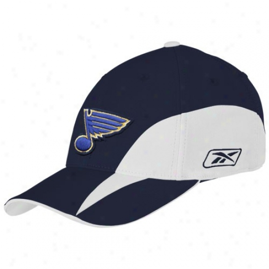 St Louis Blues Hats : Reebok St Louis Blues Navy Blue Practice Stretch Fit Hats