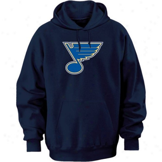 St. Louis Blues Hoody : Majestic St. Louis Blues Navy Blue Felt Tek Tract Hoody