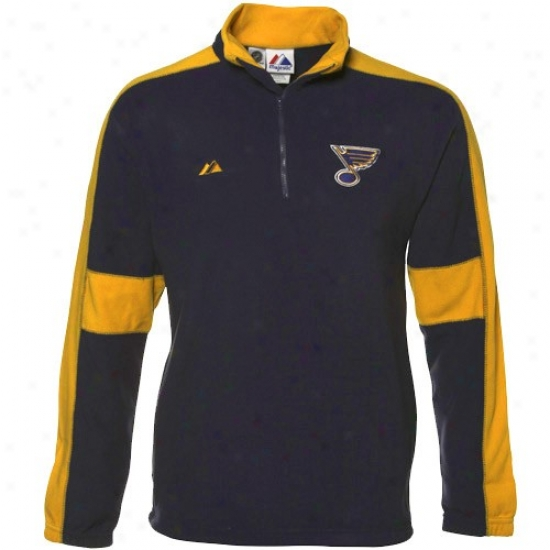 St. Louis Blues Jacket : Majestic St. Louis Blues Navy Blue-gold ClearV ictory 1/4 Zip Sweashirt