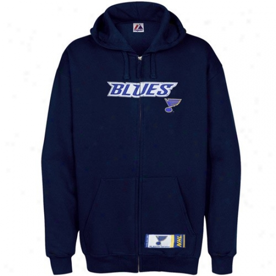 St Louis Melancholy Jacket : Majestic St Louis Melancholy Navy Blue Classic Heavyweight Full Zip Hoody Jacket