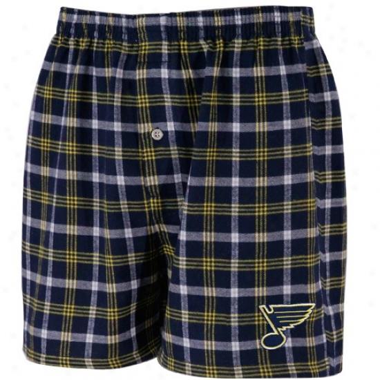 St. Louis Blues Navy Blue Plaid Tailgate Boxer Shorts