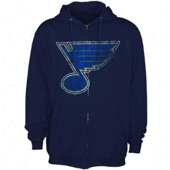St. Louis Blues Stuff: Majestic St. Louis Blues Ships of war Blue Official Logo Full Zip Hoody Sweatshirt