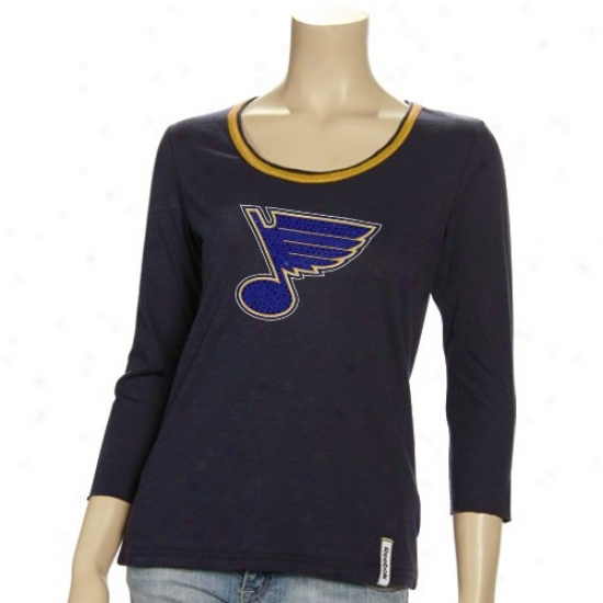 St Louis Blues Tshirt : Reebok St Lkuis Blues Ldies Navy Blue Ramp Up Sequined 3/4 Sleeve Premium Tshirt