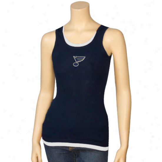 St. Louis Blues Tshirts : St. Louis Blues Ladies Navy Blue Harmony Layered Tank Top