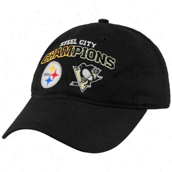 Steeler Exceed : Reebok Pittsburgh Penguins-steeler Black Steel City Champions Adjustable Slouch Cap
