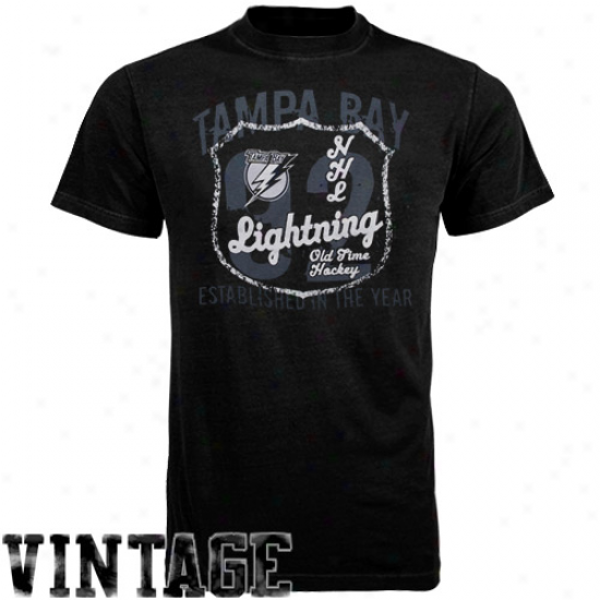 Tampa Check Lightning Attire: Old Time Hockey Tampa Bay Lightning Black Captain T-shirt