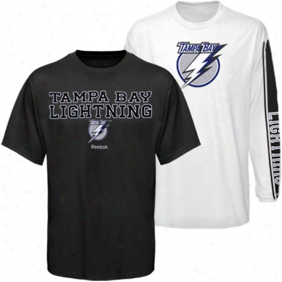 Tampa Bay Lightning Attire: Reebok Tampa Bay Ligytning Black-white 3-in-1 T-shirt Combo Pack