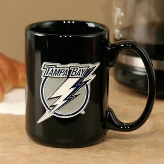 Tampa Bay Lightning Black 15oz. Pewyer Logo Ceramic Mug