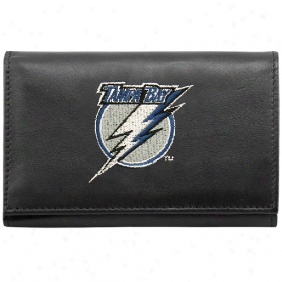 Tampa Bay Lightning Black Embroidered Tri-fold Leather Wallet