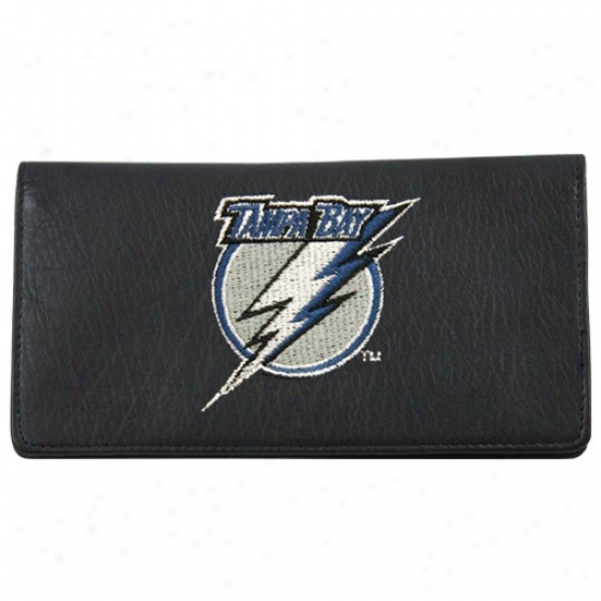 Tampa Bay Lightning Black Leather Embroidered Checkbook Cover