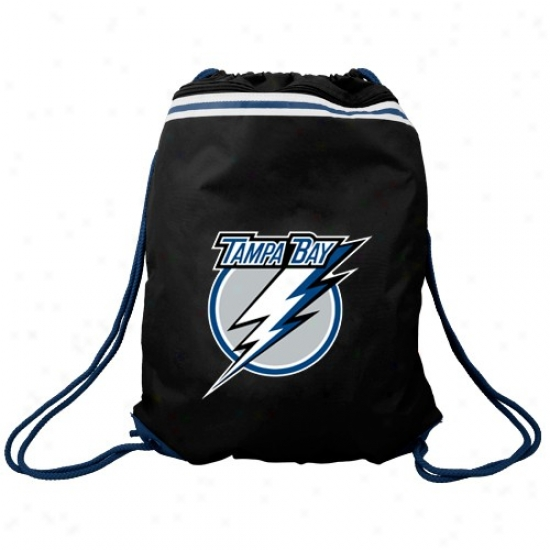 Tampa Bay Lightning Black Team Logo Drawstrinh Backpack