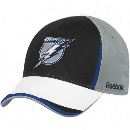 Tampa Bay Lightning Caps : Reebok Tampa Laurel-crown Lightning Gray-black Nhl 2010 Draft Appointed time Flex Fit Caps
