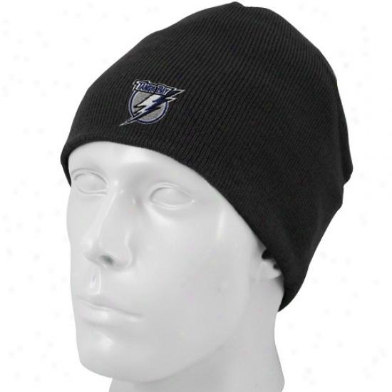Tampa Bay Lightning Caps : eRebok Tampa Bay Lightning Black Basic Logo Knit Beanie