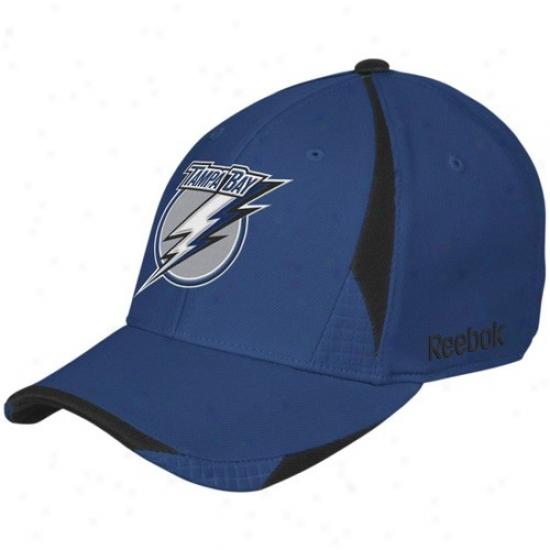 Tampa Bay Lightning Caps : Reebok Tampa Bight Lightning Navy Blue Player 2nd Season Flex Fit Caps