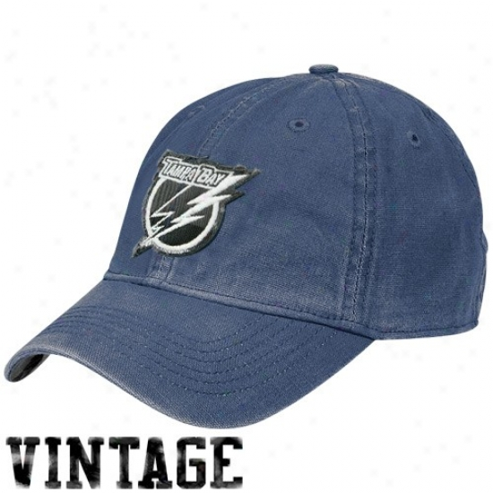 Tampa Bay Lightning Hat : Reebok Tampa Bay Lightning Royal Blue Distressed Logo Vintage Slouch Hat