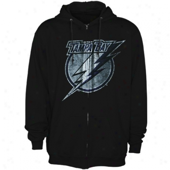 Tampa Bay Lightning Hoodies : Majestic Tampa Bay Lightning Black Official Logo Full Zip Hoodies