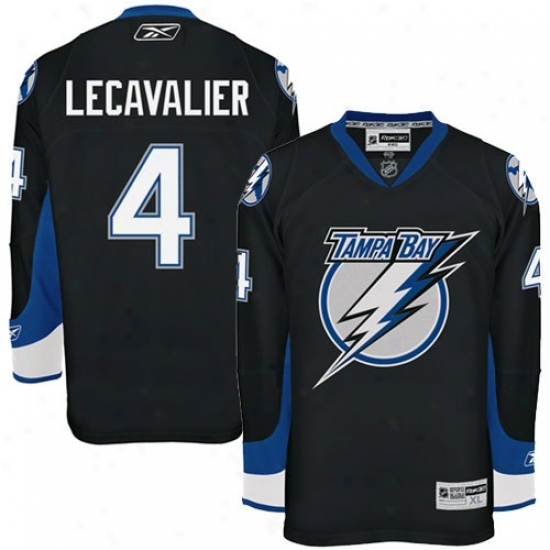 Tampa Bay Lightning Jerseys : Reebok Tampa Bay Lightning #4 Vincent Lecavalier Black Premier Hockey Jerseys