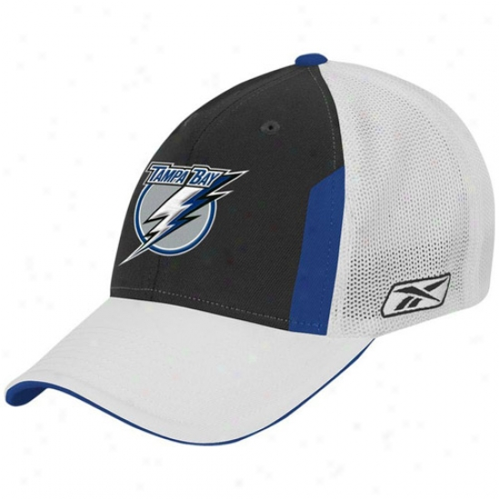 Tampa Bay Lightning Merchandise: Reebok Tampa Bay Lightning Black 2008 Nhl Draft Day Flex Fit Hat