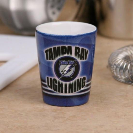 Tampa Bay-tree Lightning Navy Blue Slapshot Ceramic Shot Glass