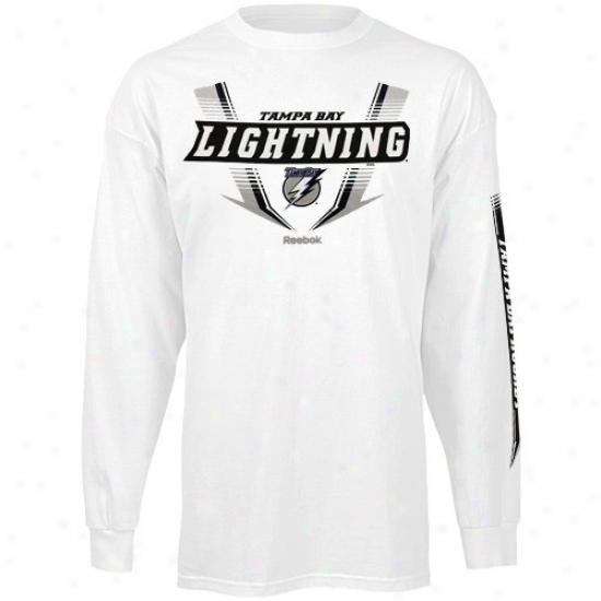 Tampa Bay Lightning Shirt : Reebok Tampa Bay Lightning White Supermoto Long Sleeve Shirt