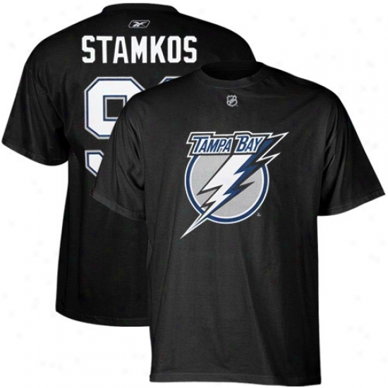 Tampa Bay Lightning T-sgirt : Reebok Tampa Bay Lightning #91 Steven Stamkos Mourning Player T-shirt