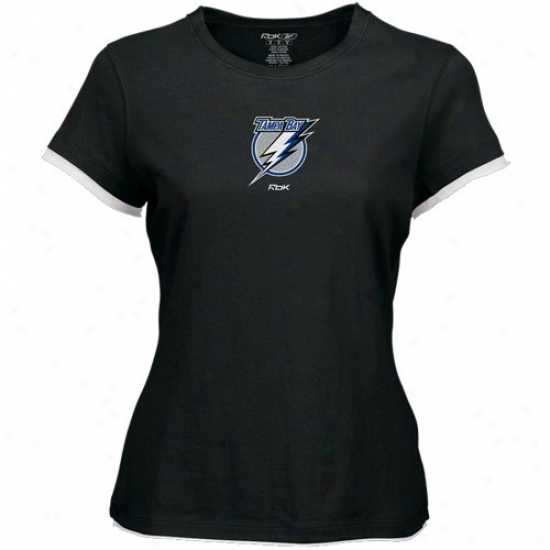Tampa Bay Lightninh T-ahirt : Rsebok Tampa Bay Lightnkng Ladies Black Logo Premier Cap Sleeve Tissue T-shirt