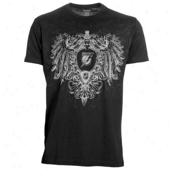 Tampa Bay Lightning Tshirt : Reebok Tampa Bay Lightning Black Sword & Shield Tshirt