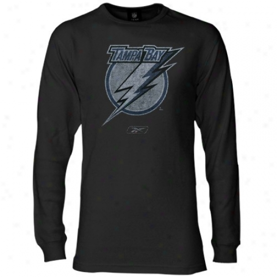 Tampa Bay Lightning Tshirt : Reebok Tampa Bark Lightning Black Faded Logo Slow Sleeve Thermal Tshirt