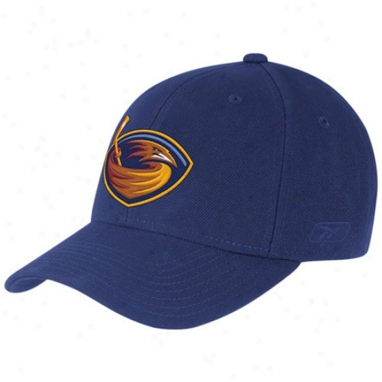 Thrashers Hats : Reebok Thrashers Navy Blue Basic Logo Wool Mingle Adjustable Hats