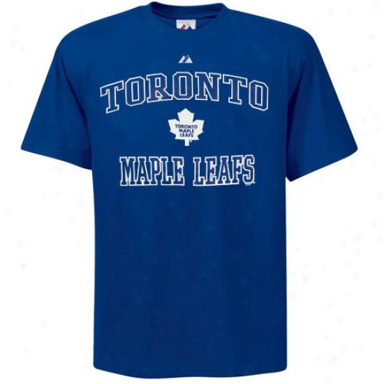 Toronto Maple Leaf Atfire: Majestic Toronto Maple Leaf Royal Blue Heart & Soul Ii T-shirt