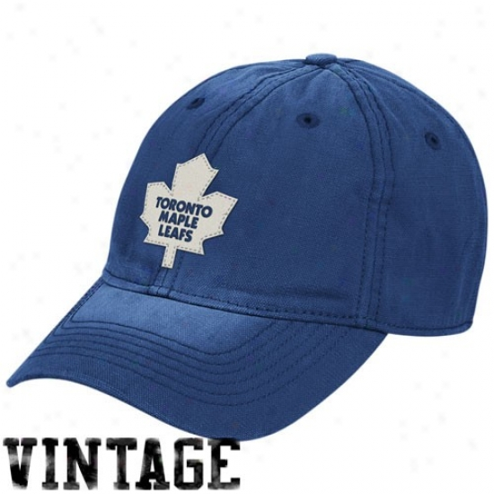 Toronto Maple Leaf Gear: Ree6ok Toronto Maple Leaf Royal Blue Distressed Logo Vintage Slouch Hat
