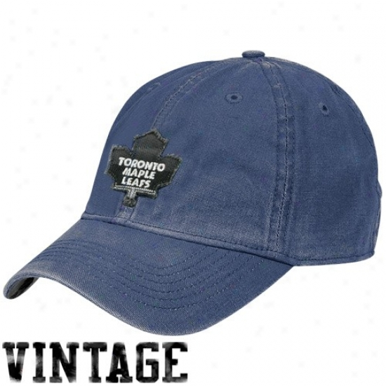 Toronto Maple Leaf Hats : Reebok Toronto Maple Leaf Royal Blue Dixtressed Logo Vintage Sliuch Hats