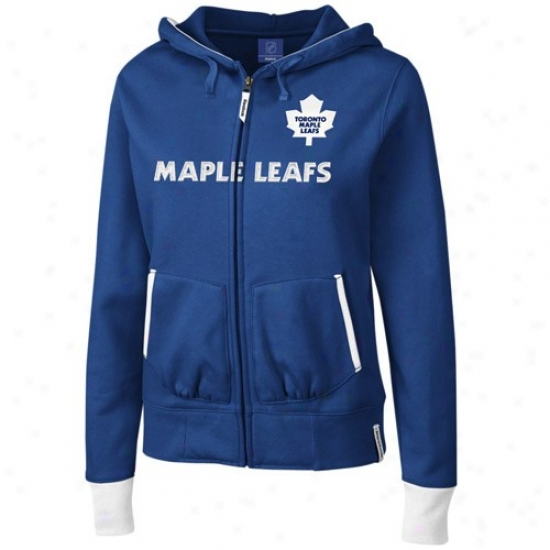 Toronto Maple Leaf Sweat Shirts : Reebok Toronto Maple Leaf Ladies Nafy Blue Chant Fuull Zip Sweat Shirts