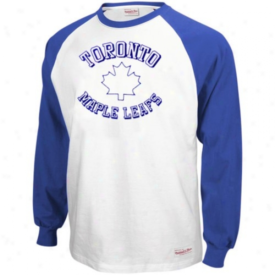 Toronto Maple Leaf Tees : Mitchell & Ness Toronto Maple Leaf Navy Blue-white Neutral Zone Long Sleeve Rgalan Tees