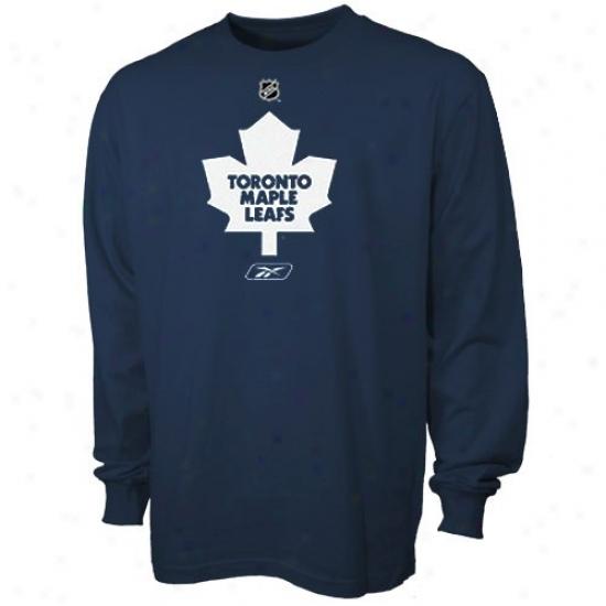 Toronto Maple Leaf Tshirts : Reebok Toronto Maple Leaf Navy Blue Primary Logo Longg Sleeve Tshirts