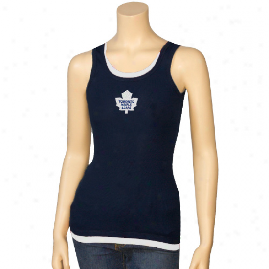 Toronto Maple Leafs Apparel: Toronto Maple Leafs Ladies Navy Blue Peace Layered Tank Top