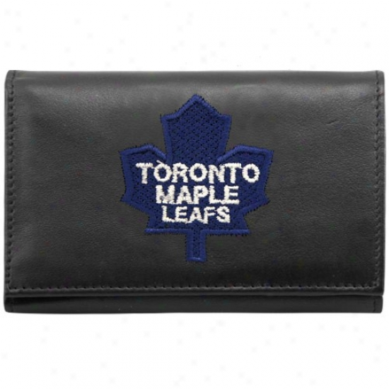 Toronto Maple Leafs Black Embroidered Tri-fold Leather Wallet