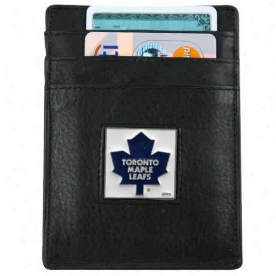 Toronto Maple Leafs Black Leather Card Holder & Money Clip