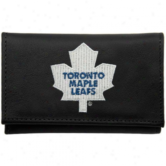 Toronto Maple Leafs Black Leather Ebroidered Tri-fold Wallet