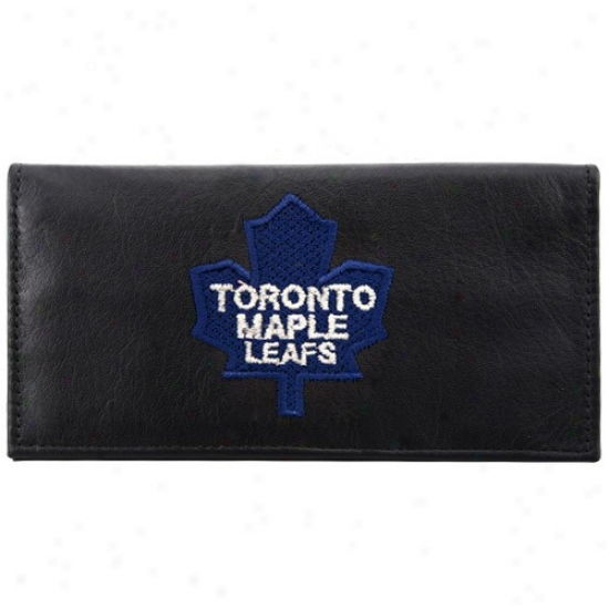 Toronto Maple Leafs Black Leather Embroidered Checkbook Cover