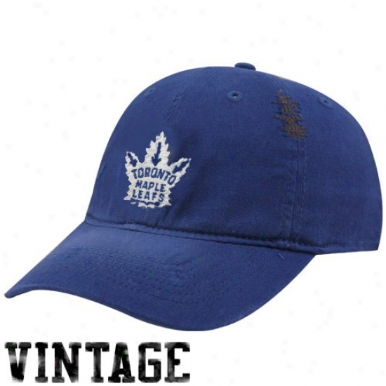 Toronto Maple Leafs Caps : Reebok Toronto Maple Leafs Royal Blue Distressed Logo Vintage Clownish gait Caps