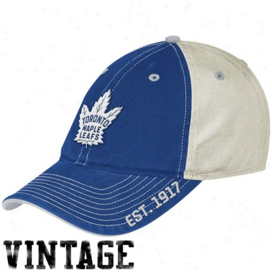 Toronto Maple Leafs Hat : Reebok Toronto Maple Leafs Royal Blue-white Established Logo Vintage Slouch Cardinal's office