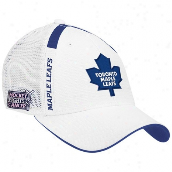 Toronto Maple Leafs Merchandise: Reebok Toronto Maple Leafs White  Hockey Fights Cancer Draft Day Flex Accommodate Hat