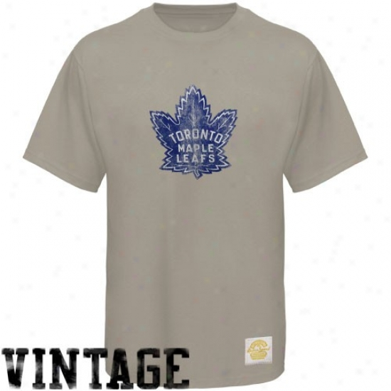 Toronto Maple Leafs T Shirt : Reebok Toronto Maple Leafs Gray Retro Logo Vintage Premium T Shirt