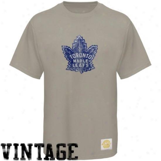 Toronto Maple Leafs T Shirt : Reebok Toronto Maple Leafs Gray Retro Logo Vintage Premium T Shirt
