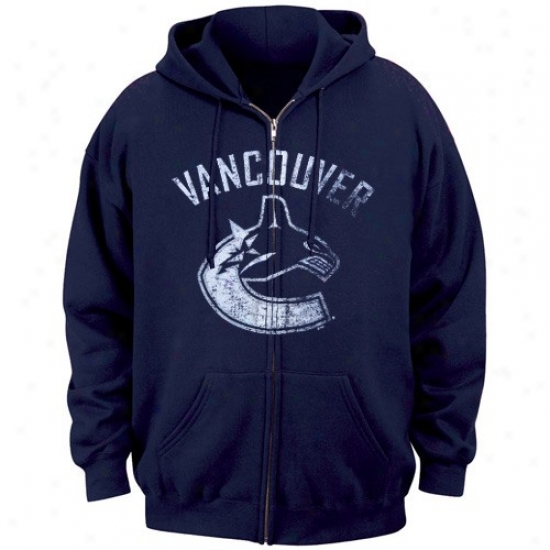 Vajcouver Canuck Flece : Majestic Vancouver Canuck Navy Blue Official Logo Full Zip Fleece