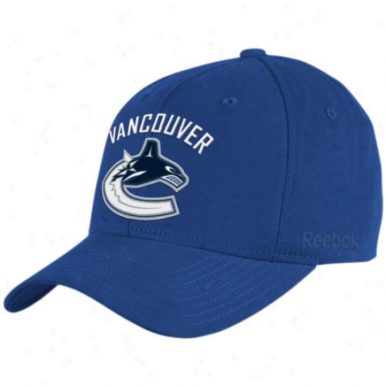 Vancouver Canuck Hats : Reebok Vancouver Canuck Royal Blue Basic Logo Flex Fit Hats